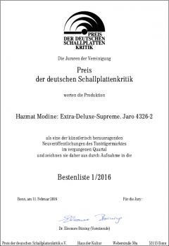 Urkunde Preis der deutschen Schallplattenkritik